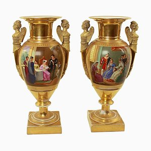 Empire Vasen aus Porzellan, 2er Set