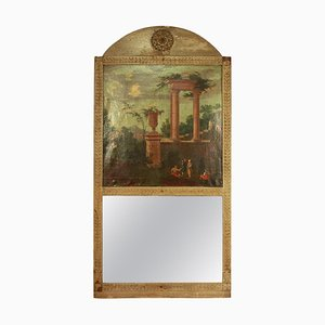 Neoclassical Trumeau Mirror with Capriccio Painting