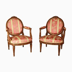 19th Century Louis XVI Style Walnut Armchairs after J.-R. Nadal, Set of 2
