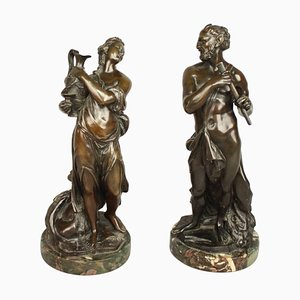 18th Century French Bronze Sculptures of Faun and Bacchantin, Set of 2