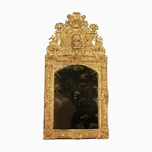 18th Century French Regency Vase and Birds Cresting Giltwood Mirror