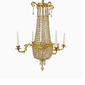 19th Century Swedish Cut-Crystal Ormolu Chandelier