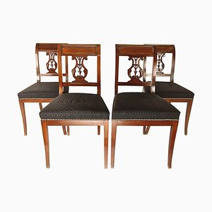 Directoire Mahogany Side Chairs with Brass Banding, Set of 4
