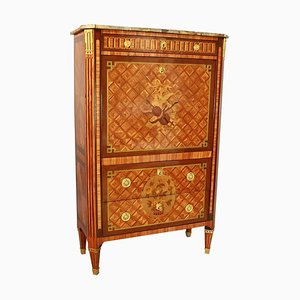18th Century French Louis XVI Gilt-Bronze Floral Marquetry Secretaire à Àbattant