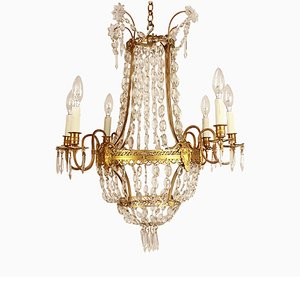 Louis XVI Style Gilt-Bronze and Crystal Cut 6-Light Chandelier, 1860s