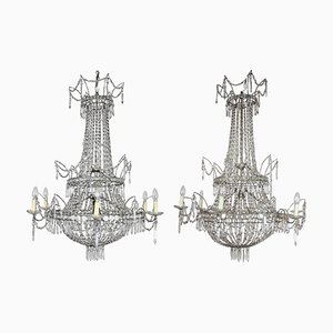 Large Spanish Empire Style Crystal-Cut 7-Light Chandeliers, Set of 2