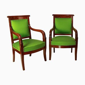 Empire Mahogany Armchairs in the Manner of Jacob Desmalter, Set of 2
