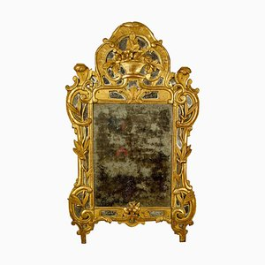 18th Century French Louis XV Rococo Carved Gilt Wood Flower Basket Wall Mirror