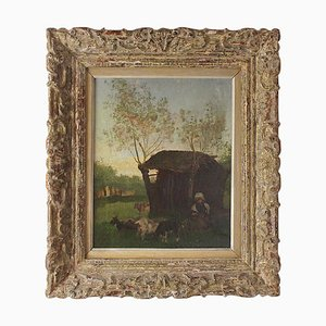 19th Century Painting School of Barbizon Rural Scene with Peasant Girl and Goats