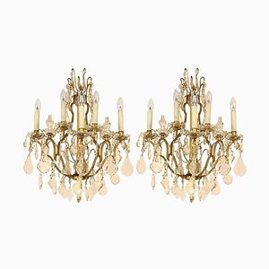 Louis XV Style Gilt-Bronze and Cut-Crystal 5-Light Sconces, Set of 2