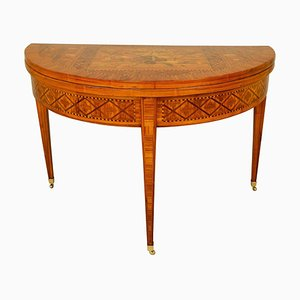 18th Century French Louis XVI Marquetry Demilune Fold-Over Game Table