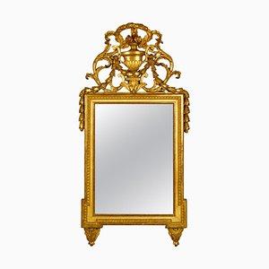 18th Century French Louis XVI Neoclassical Giltwood Vase Motif Wall Mirror