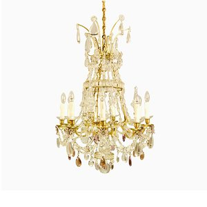 Large French Louis XV Bronze & Crystal Chandelier Attributed to Maison Baguès