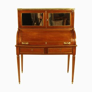 19th Century French Directoire Style Brass & Mahogany Veneered Cylinder Bureau