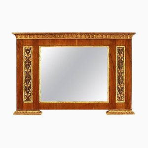 Early-19th Century North Italian Neoclassical Walnut Giltwood Overmantel Mirror
