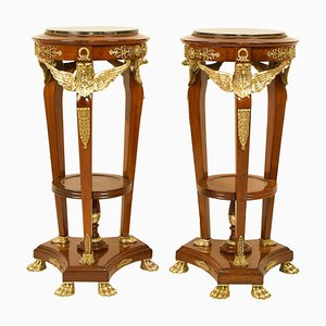 19th Century French Empire Mahogany & Bronze Eagle Heads Pedestal Stands, Set of 2