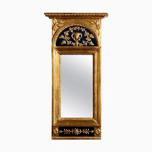 Antique French Empire Gilded or Painted Mirror with Decoration, 1800s