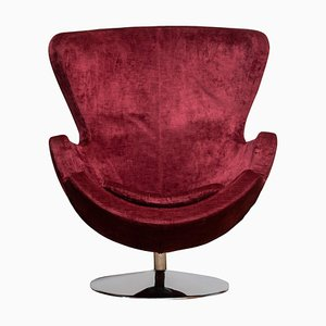 Egg Swivel Chair on Chrome Stand Colored in Bordeaux Red Baby Roy, 1970s