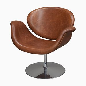 Leather F594 Tulip Midi Swivel Chair by Pierre Paulin for Artifort, 1960s
