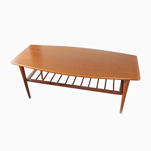 Vintage Wooden Coffee Table with Magazine Rack, 1960s