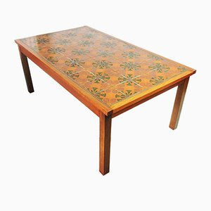 Wooden and Decorative Ceramic Tiled Coffee Table, 1970s