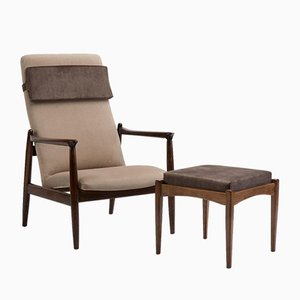 GFM 64 Armchair & Footstool, 1960s, Set of 2