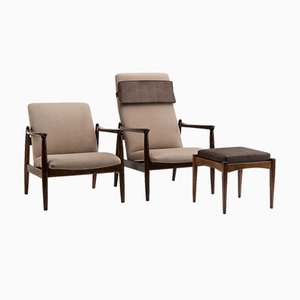 GFM-64 Armchairs & Footstool by Edmund Homa, 1960s, Set of 3