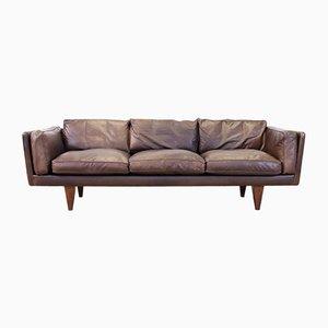 Leather & Rosewood V11 3-Seat Sofa by Illum Wikkelsø for Holger Christiansen, 1960s