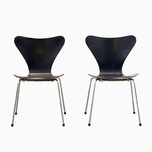 Chaises Butterfly Noires 3107 par Arne Jacobsen pour Fritz Hansen, 1960s, Set de 2