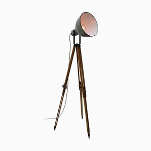 Vintage Industrial Wooden and Gray Enamel Tripod Spotlight Floor Lamp