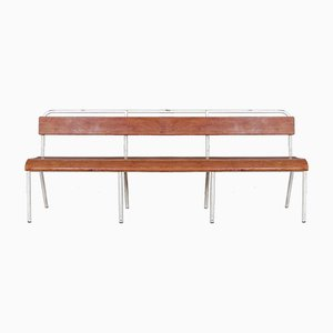 White Enameled Iron & Chestnut Bench, 1960s