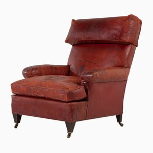 Large 19th Century French Red Leather Armchair