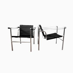 LC1 Armchairs by Le Corbusier, Pierre Jeanneret & Charlotte Perriand for Cassina, 1980s, Set of 2