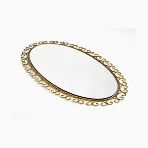 Large Oval Sunburst Wall Mirror in Brass Anodized Metal, 1960s