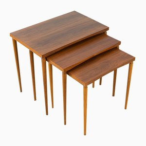 Walnut Veneer Nesting Tables, 1960s