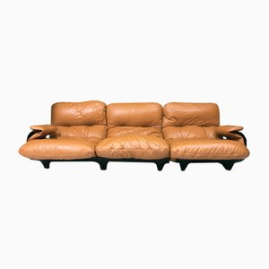 Vintage French 2-Seter Marsala Sofa and Chair Set by Michel Ducaroy for Ligne Roset