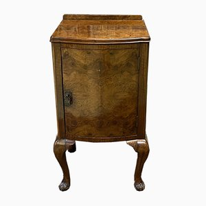 English Art Deco Burr Walnut Nightstand, 1930s