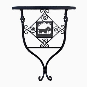 Vintage German Handmade Wrought Iron Garden Console Table, 1950s