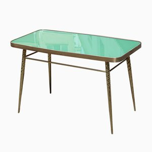 Golden Brass and Green Glass Top Coffee Table, 1950s