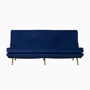 Deep Blue Velvet 3-Seater Sofa by Marco Zanuso for Arflex, 1950s