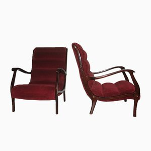 Italian Red Velvet and Walnut Lounge Chairs from Arredamenti Corallo, 1950s, Set of 2