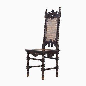 Sedie da pranzo antiche in stile gotico in vimini, fine XIX secolo, set di 6