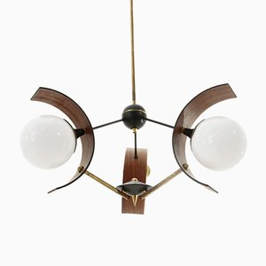 Brass, Teak, and Opaline Glass Chandelier, 1960s