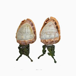 Antique Conch Table Lamps, 1900s, Set of 2