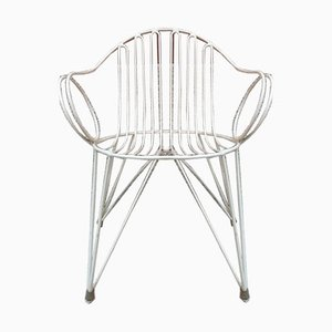 Mid-Century German White Painted Iron Garden Chairs, 1950s, Set of 5
