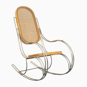 Vintage Tubular Steel & Cane Rocking Chair, 1970s