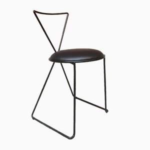Postmodern Italian Black painted Iron Rod and Leather Chairs, 1980s, Set of 4