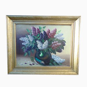 Lilacs in a Vase Oil Painting, 1970s