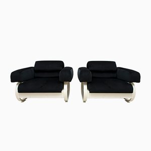 Mid-Century Italian Velvet Lounge Chairs, 1960s, Set of 2
