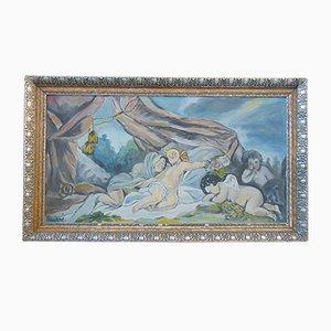 Antique Sleeping Cupids Oil Painting